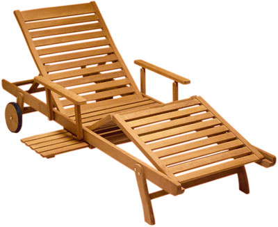 Hampton Teak Wood Chaise Lounger