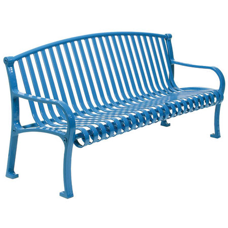 Metal benches are made of steel.  A special coating known as Thermoplastic® protects the steel from the weather, accidental damage, and deliberate vandalism.