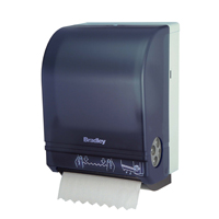 commercial bathroom c-fold and roll style paper towel dispensers.