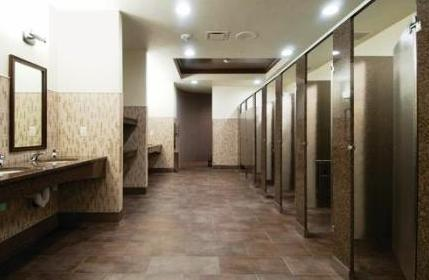Granite and Stainless Steel Toilet Partitions