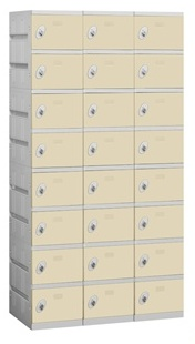 Solid Plastic Shoe Lockers - Eight Tier