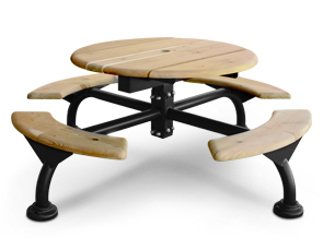 Round Cedar Wood Picnic Table