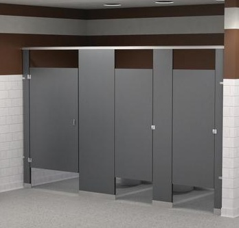 Partitions - Solid Plastic - Floor Mounted Overhead Braced
