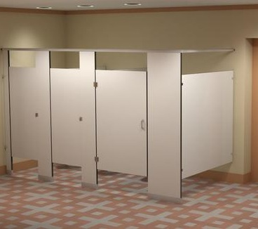 Toilet Partitions - Plastic Laminate - Ceiling Hung