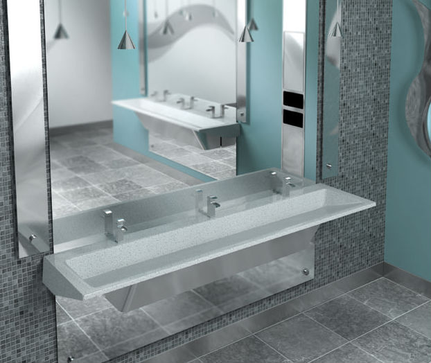 Unique Modern Multi User Commercial Grade Trough Lavatory Sink