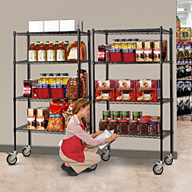 Mobile Wire Shelving, Stainless Steel Mobile Wire Shelving, Wire Shelving Units, Industrial Mobile Wire Shelving