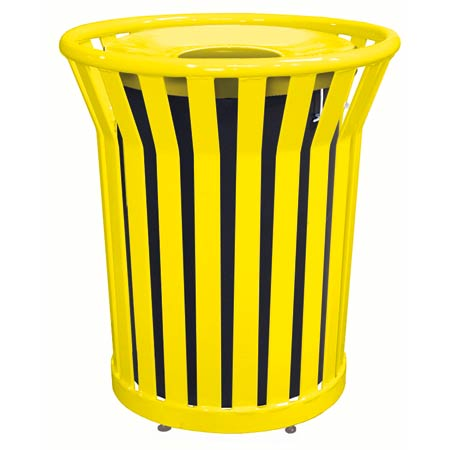Waste Receptacle with Spun Metal Lid