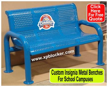 Custom-Insignia-Metal-Benches-For-School-Campuses