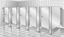 Restroom Partition - Stainless Steel - Floor Mount